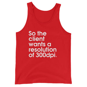 So The Client Wants a Resolution of 300dpi. - Green Screen Apparel Tank Top