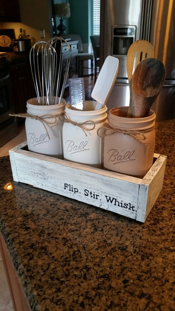 Rustic Mason jar utensil holder