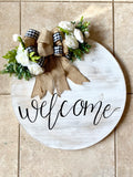 Custom Round Door - Wall Decor - Farmhouse Wreath