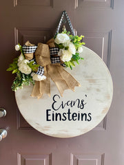 Custom Round Door - Wall Decor - Farmhouse Wreath - Welcome Sign