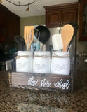 Flip. Stir. Whisk. Mason jar utensil holder