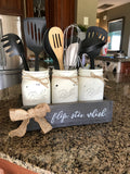 Farmhouse Flip. Stir. Whisk. Mason jar utensil holder