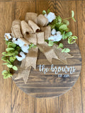 Personalized Farmhouse Wreath with greenery