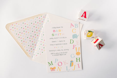 alphabet ABC baby shower invitations (sets of 10) - lola louie paperie, stationery - paper goods, stationery - wedding stationery, stationery - wedding invitations, stationery - thank you cards, stationery - bridesmaid cards