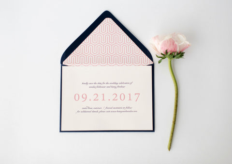 amelia save the date invitation - customizable (sets of 10) - lola louie paperie, stationery - paper goods, stationery - wedding stationery, stationery - wedding invitations, stationery - thank you cards, stationery - bridesmaid cards