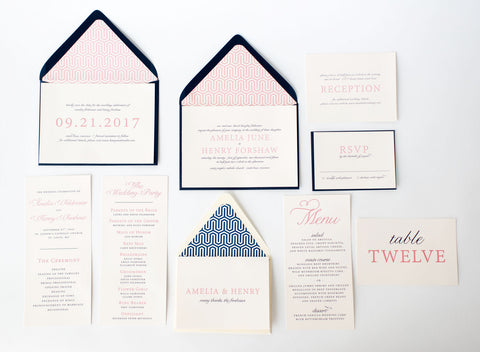 amelia wedding set - lola louie paperie, stationery - paper goods, stationery - wedding stationery, stationery - wedding invitations, stationery - thank you cards, stationery - bridesmaid cards