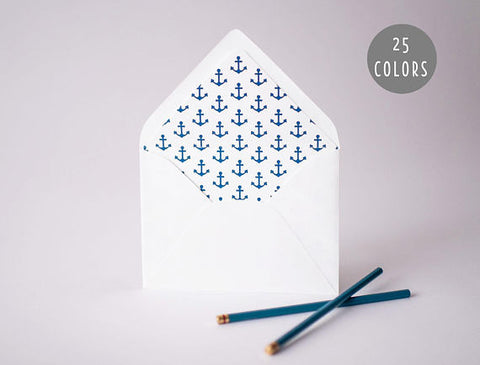 anchors lined envelopes (25 color options) - lola louie paperie, stationery - paper goods, stationery - wedding stationery, stationery - wedding invitations, stationery - thank you cards, stationery - bridesmaid cards