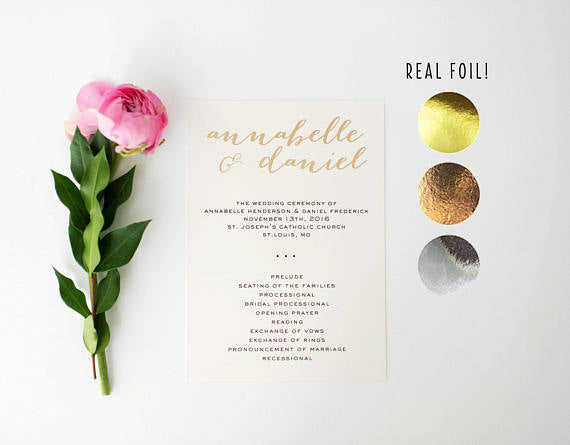 annabelle gold foil wedding programs (sets of 10) // lola louie paperie - lola louie paperie, stationery - paper goods, stationery - wedding stationery, stationery - wedding invitations, stationery - thank you cards, stationery - bridesmaid cards