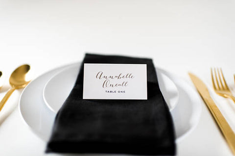 annabelle place cards / escort cards (sets of 10) // flat or folded wedding place cards / calligraphy neutral gold custom romantic - lola louie paperie,  - paper goods,  - wedding stationery,  - wedding invitations,  - thank you cards,  - bridesmaid cards