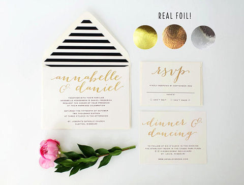 annabelle gold foil wedding invitation sample // rose gold foil / silver foil / black white stripes / modern / calligraphy / custom / invite - lola louie paperie, stationery - paper goods, stationery - wedding stationery, stationery - wedding invitations, stationery - thank you cards, stationery - bridesmaid cards