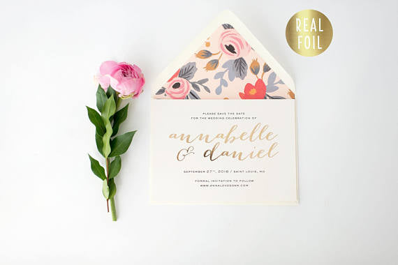 annabelle gold foil save the date invitations + lined envelopes (sets of 10) - lola louie paperie, stationery - paper goods, stationery - wedding stationery, stationery - wedding invitations, stationery - thank you cards, stationery - bridesmaid cards