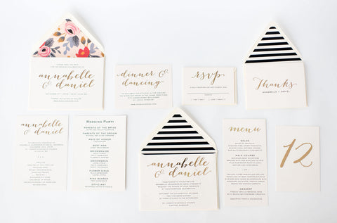 annabelle wedding set - lola louie paperie, stationery - paper goods, stationery - wedding stationery, stationery - wedding invitations, stationery - thank you cards, stationery - bridesmaid cards