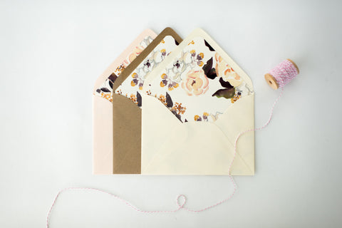 "antiquaria ""annabelle"" floral lined envelopes (sets of 10) - lola louie paperie, stationery - paper goods, stationery - wedding stationery, stationery - wedding invitations, stationery - thank you cards, stationery - bridesmaid cards"