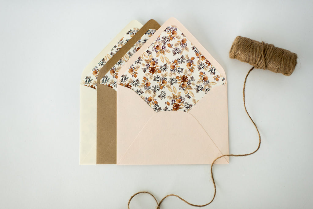 "antiquaria ""calico autumn"" floral lined envelopes (sets of 10) - lola louie paperie, stationery - paper goods, stationery - wedding stationery, stationery - wedding invitations, stationery - thank you cards, stationery - bridesmaid cards"