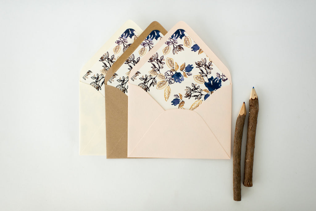 "antiquaria ""calico denim"" floral lined envelopes (sets of 10) - lola louie paperie, stationery - paper goods, stationery - wedding stationery, stationery - wedding invitations, stationery - thank you cards, stationery - bridesmaid cards"
