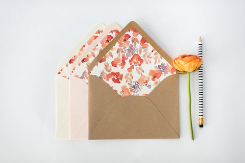 "antiquaria ""chloe pink"" floral lined envelopes (sets of 10) - lola louie paperie, stationery - paper goods, stationery - wedding stationery, stationery - wedding invitations, stationery - thank you cards, stationery - bridesmaid cards"