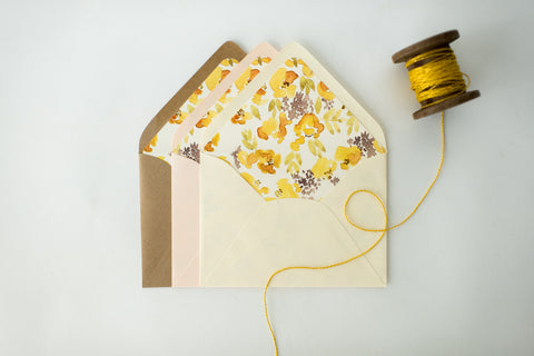 "antiquaria ""chloe yellow"" floral lined envelopes (sets of 10) - lola louie paperie, stationery - paper goods, stationery - wedding stationery, stationery - wedding invitations, stationery - thank you cards, stationery - bridesmaid cards"