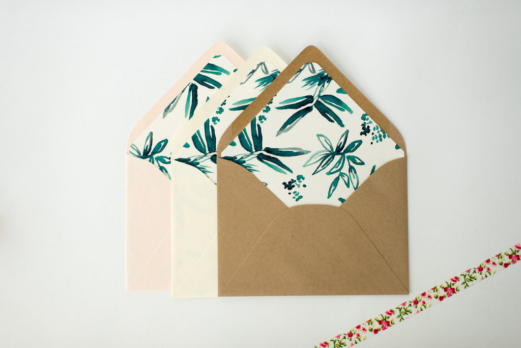 "antiquaria ""coco"" floral lined envelopes (sets of 10) - lola louie paperie, stationery - paper goods, stationery - wedding stationery, stationery - wedding invitations, stationery - thank you cards, stationery - bridesmaid cards"