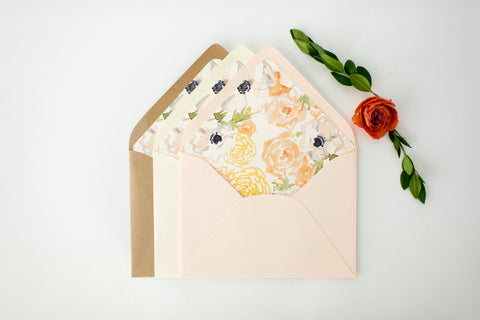 "antiquaria ""natalia"" floral lined envelopes (sets of 10) - lola louie paperie, stationery - paper goods, stationery - wedding stationery, stationery - wedding invitations, stationery - thank you cards, stationery - bridesmaid cards"