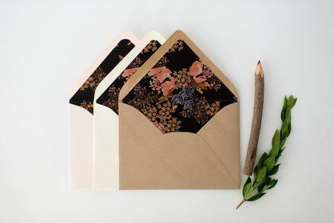 "antiquaria ""zoe"" floral lined envelopes (sets of 10) - lola louie paperie, stationery - paper goods, stationery - wedding stationery, stationery - wedding invitations, stationery - thank you cards, stationery - bridesmaid cards"