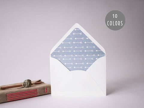 arrow lined envelopes (10 color options) - sets of 10 - lola louie paperie, stationery - paper goods, stationery - wedding stationery, stationery - wedding invitations, stationery - thank you cards, stationery - bridesmaid cards