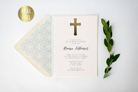 gold foil baptism / christening invitation / baby shower invitation (sets of 10) - lola louie paperie, stationery - paper goods, stationery - wedding stationery, stationery - wedding invitations, stationery - thank you cards, stationery - bridesmaid cards