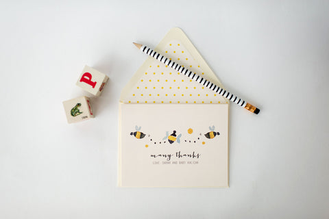 bees personalized baby shower thank you cards + lined envelopes (sets of 10) - lola louie paperie, stationery - paper goods, stationery - wedding stationery, stationery - wedding invitations, stationery - thank you cards, stationery - bridesmaid cards