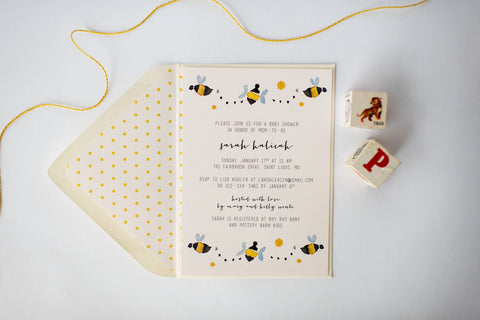 bees baby shower invitation (sets of 10) - lola louie paperie, stationery - paper goods, stationery - wedding stationery, stationery - wedding invitations, stationery - thank you cards, stationery - bridesmaid cards