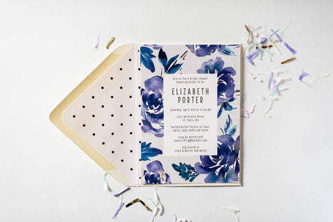 blue floral bridal shower invitation - customizable (sets of 10) - lola louie paperie, stationery - paper goods, stationery - wedding stationery, stationery - wedding invitations, stationery - thank you cards, stationery - bridesmaid cards