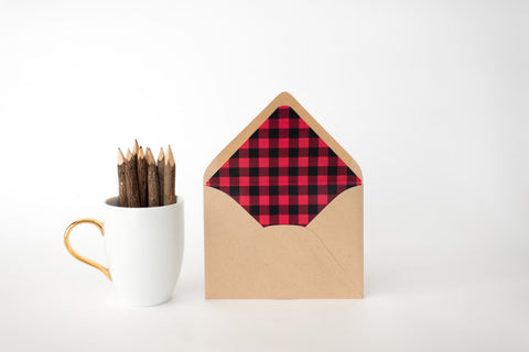 buffalo plaid lined envelopes - sets of 10 - lola louie paperie, stationery - paper goods, stationery - wedding stationery, stationery - wedding invitations, stationery - thank you cards, stationery - bridesmaid cards