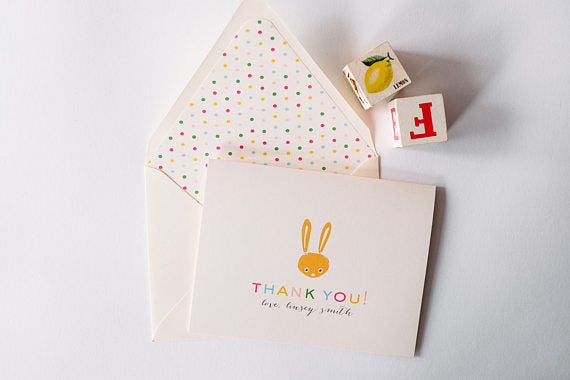personalized baby shower thank you cards + lined envelopes (sets of 10) - lola louie paperie, stationery - paper goods, stationery - wedding stationery, stationery - wedding invitations, stationery - thank you cards, stationery - bridesmaid cards
