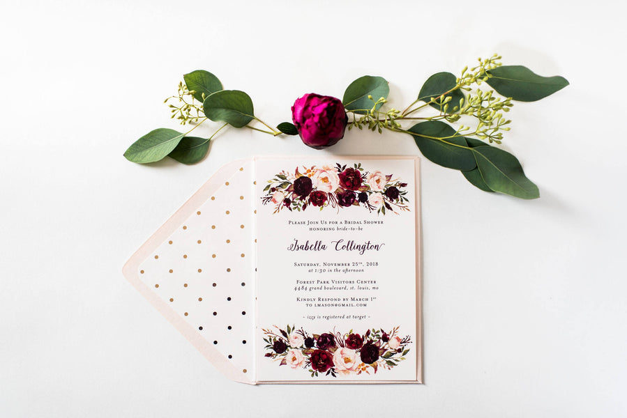 burgundy floral bridal shower invitation - customizable (sets of 10) - lola louie paperie, stationery - paper goods, stationery - wedding stationery, stationery - wedding invitations, stationery - thank you cards, stationery - bridesmaid cards