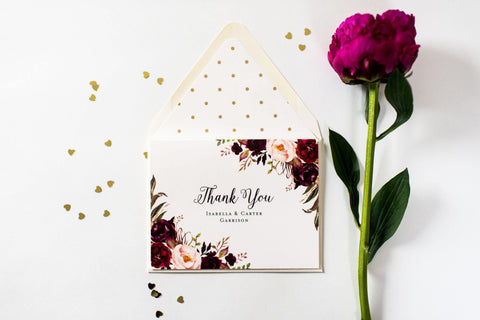 burgundy floral wedding thank you cards // personalized thank you cards / card set / stationery / blush wedding gold foil isabella - lola louie paperie