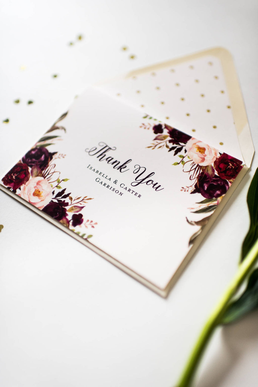 burgundy floral wedding thank you cards personalized thank you cards card set - Personalized Thank You Cards
