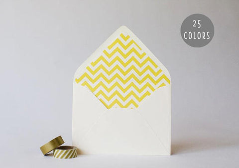 chevron lined envelopes (25 color options) - sets of 10 - lola louie paperie, stationery - paper goods, stationery - wedding stationery, stationery - wedding invitations, stationery - thank you cards, stationery - bridesmaid cards