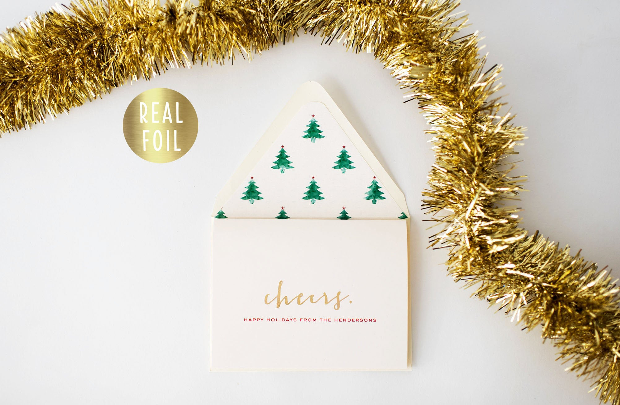 Christmas Cards Holiday Cards Personalized Gold Foil Set Of