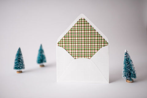 christmas plaid lined envelopes / christmas holiday envelope liners (set of 10) - lola louie paperie, stationery - paper goods, stationery - wedding stationery, stationery - wedding invitations, stationery - thank you cards, stationery - bridesmaid cards