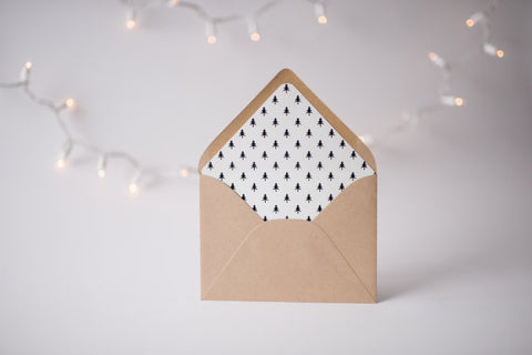 christmas tree lined envelopes / christmas holiday lined envelopes (set of 10) - lola louie paperie, stationery - paper goods, stationery - wedding stationery, stationery - wedding invitations, stationery - thank you cards, stationery - bridesmaid cards