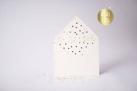 gold foil confetti polka dot lined envelopes (sets of 10) - lola louie paperie