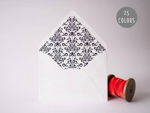 damask lined envelopes (20 color options) - sets of 10 - lola louie paperie, stationery - paper goods, stationery - wedding stationery, stationery - wedding invitations, stationery - thank you cards, stationery - bridesmaid cards