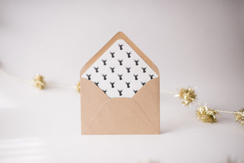 deer head lined envelopes / christmas holiday envelope liners (set of 10) - lola louie paperie, stationery - paper goods, stationery - wedding stationery, stationery - wedding invitations, stationery - thank you cards, stationery - bridesmaid cards