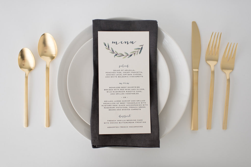 elliot wedding menus (sets of 10) - lola louie paperie, stationery - paper goods, stationery - wedding stationery, stationery - wedding invitations, stationery - thank you cards, stationery - bridesmaid cards