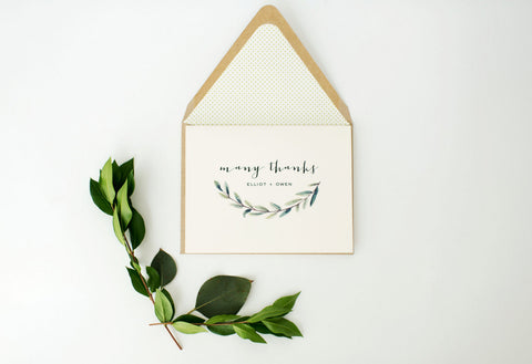 greenery thank you cards / wedding thank you cards / personalized / stationery / card set / lined envelope / winery olive branch - lola louie paperie