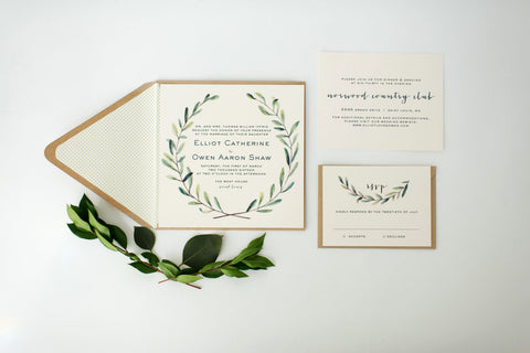 elliot greenery wedding invitation sample // green leaves watercolor rustic eucalyptus custom modern calligraphy invite printed invitation - lola louie paperie