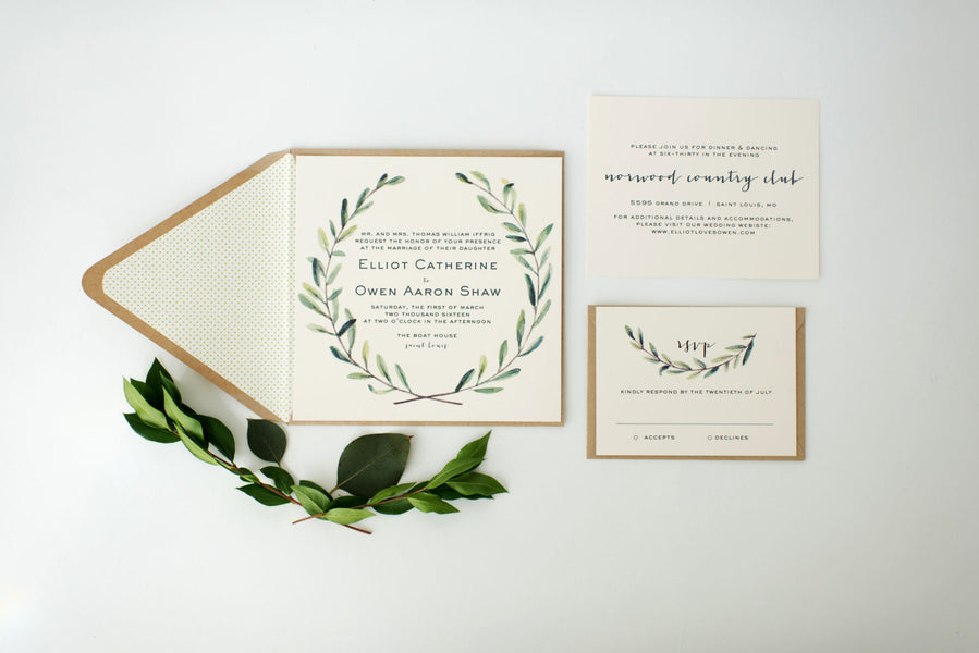 elliot greenery wedding invitation sample // green leaves watercolor rustic eucalyptus custom modern calligraphy invite printed invitation - lola louie paperie, stationery - paper goods, stationery - wedding stationery, stationery - wedding invitations, stationery - thank you cards, stationery - bridesmaid cards