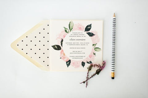 floral bridal shower invitation - customizable (sets of 10) - lola louie paperie, stationery - paper goods, stationery - wedding stationery, stationery - wedding invitations, stationery - thank you cards, stationery - bridesmaid cards