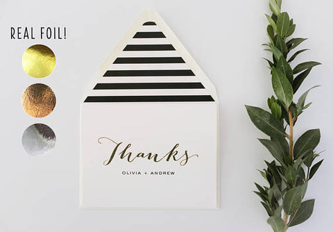 foil pressed thank you cards / personalized wedding thank you cards - lola louie paperie