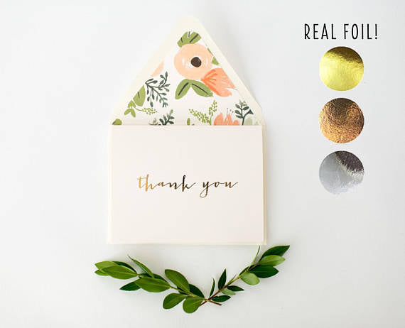 foil pressed thank you cards / wedding / bridal shower thank you cards (sets of 10) - lola louie paperie, stationery - paper goods, stationery - wedding stationery, stationery - wedding invitations, stationery - thank you cards, stationery - bridesmaid cards