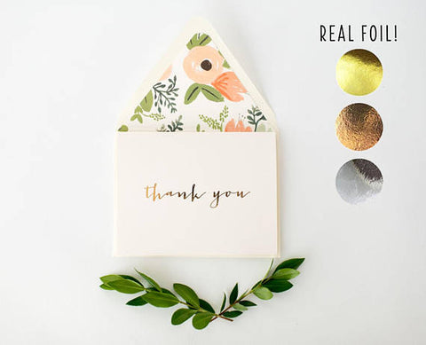 foil pressed thank you cards / wedding / bridal shower thank you cards (sets of 10) - lola louie paperie
