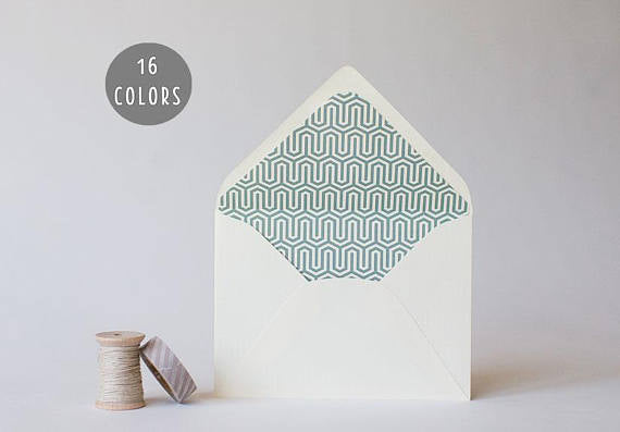 geometric lined envelopes (16 color options) - sets of 10 - lola louie paperie, stationery - paper goods, stationery - wedding stationery, stationery - wedding invitations, stationery - thank you cards, stationery - bridesmaid cards